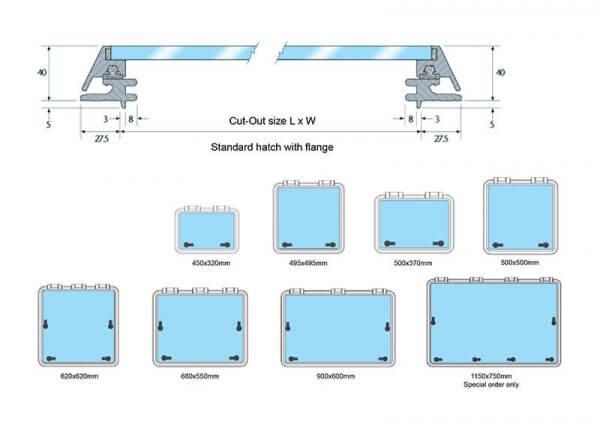 Standard Deck Hatch with a flange